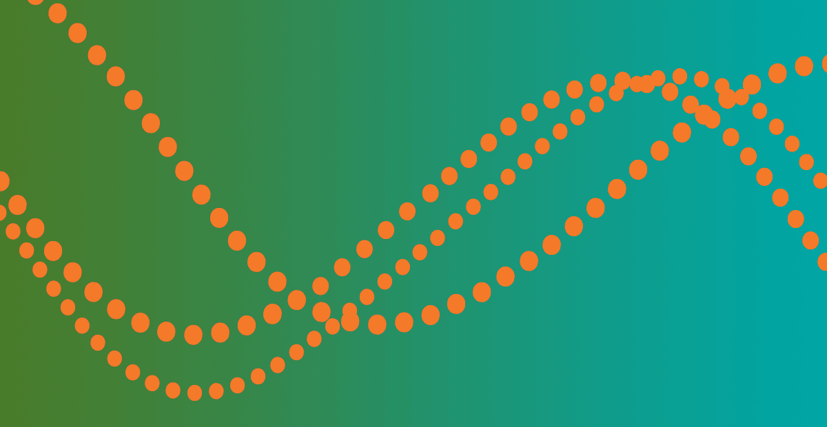 CIPD graphic banner - Lime-teal gradient with orange beads