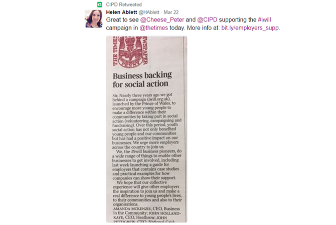 Tweet showing letter in the Times supporting the iwill campaign
