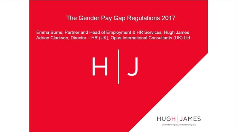 Red background about the gender pay gap regulations 2017 with the Hugh James logo